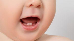 Bebé con dos dientes