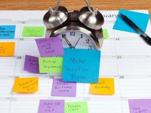 Post it´s en un calendario